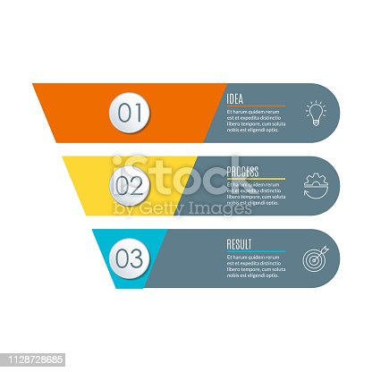 Funnel with 3 steps. Business infographic template with cone or pipeline. Marketing and sales concept. Vector illustration.