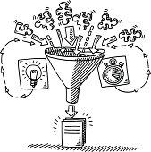 Hand-drawn vector drawing of a Funnel Workflow Concept. The input into the funnel are Puzzle Pieces, Time and Ideas. The output is the finished document. Black-and-White sketch on a transparent background (.eps-file). Included files are EPS (v10) and Hi-Res JPG.