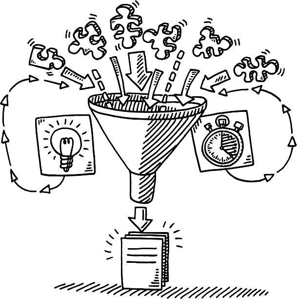 Funnel Workflow Concept Drawing Hand-drawn vector drawing of a Funnel Workflow Concept. The input into the funnel are Puzzle Pieces, Time and Ideas. The output is the finished document. Black-and-White sketch on a transparent background (.eps-file). Included files are EPS (v10) and Hi-Res JPG. environment stock illustrations