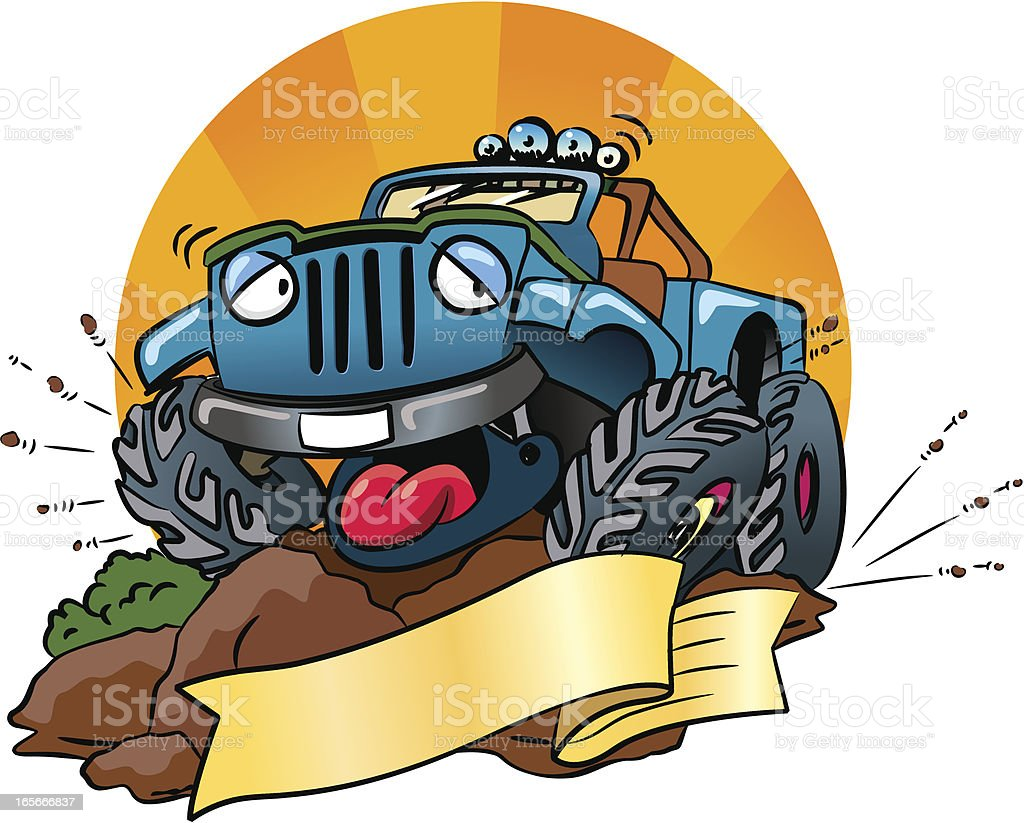 funny 4x4 Jeep royalty-free stock vector art
