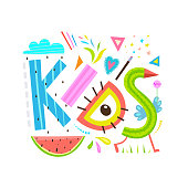 Fun and colorful Kids lettering. Vector cartoon.