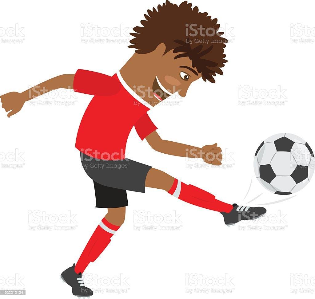 Drole Afroamericain Football Joueur De Football En Rouge Tshir