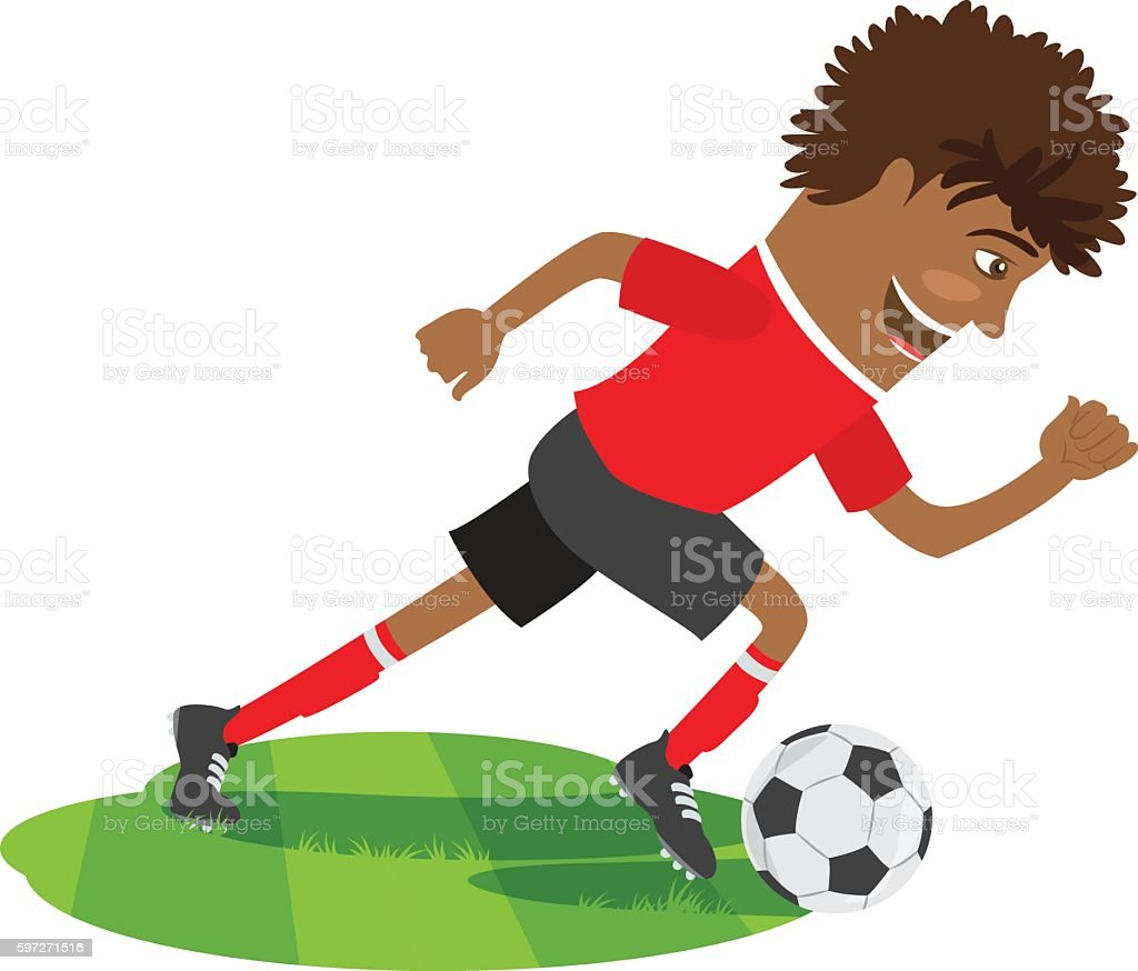 Funny African American soccer football player wearing red t-shirt royalty-free funny african american soccer football player wearing red tshirt stock vector art & more images of activity
