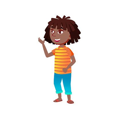 funny african girl preteen has conversation with boyfriend in garden cartoon vector