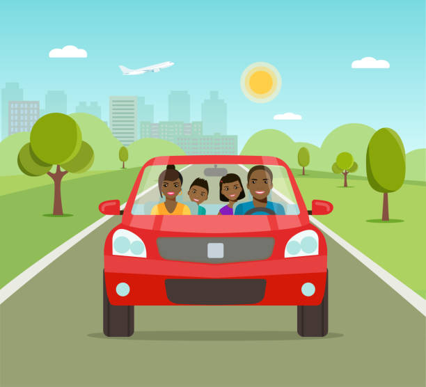 funny afro american family driving in red car on weekend holiday. vector flat illustration - family trips stock illustrations