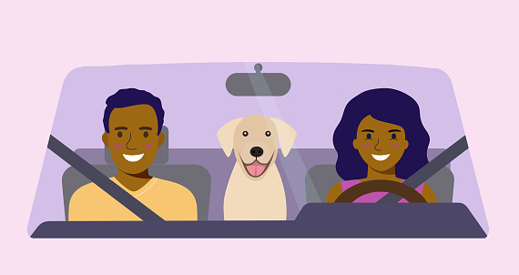 Funny afro american family with dog driving in car front. Vector flat style illustration