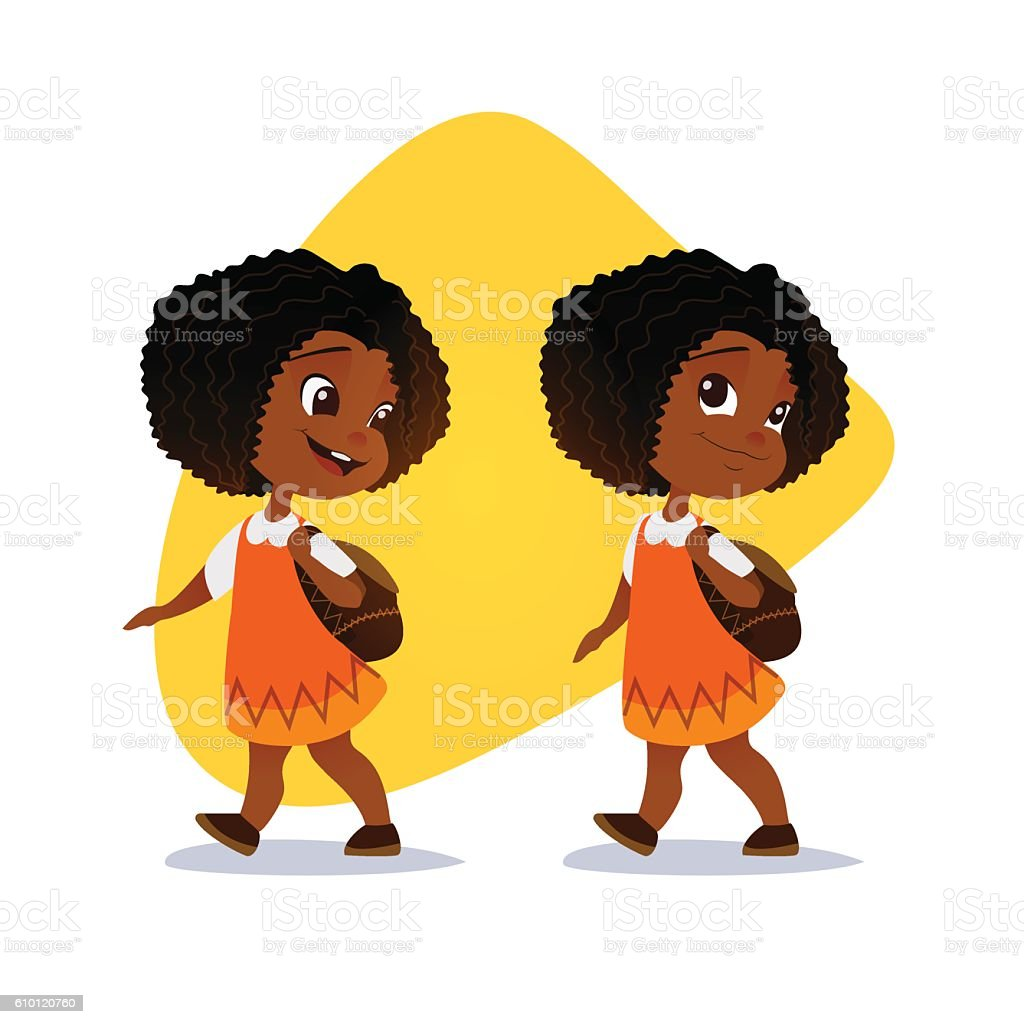 Funny afro american little girl going with a backpack. vector art illustration