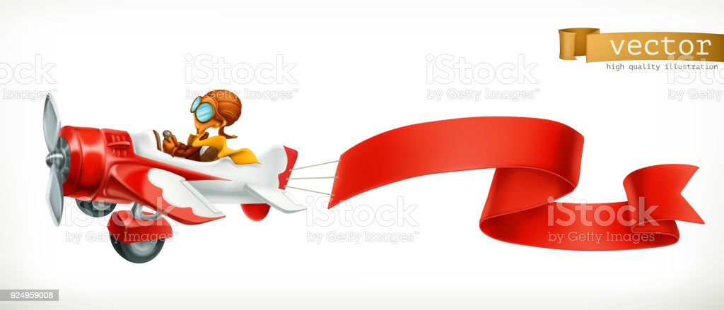 Funny airplane with red banner, 3d vector cartoon isolated on white background vector art illustration