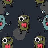 Funny alien pattern seamless background.