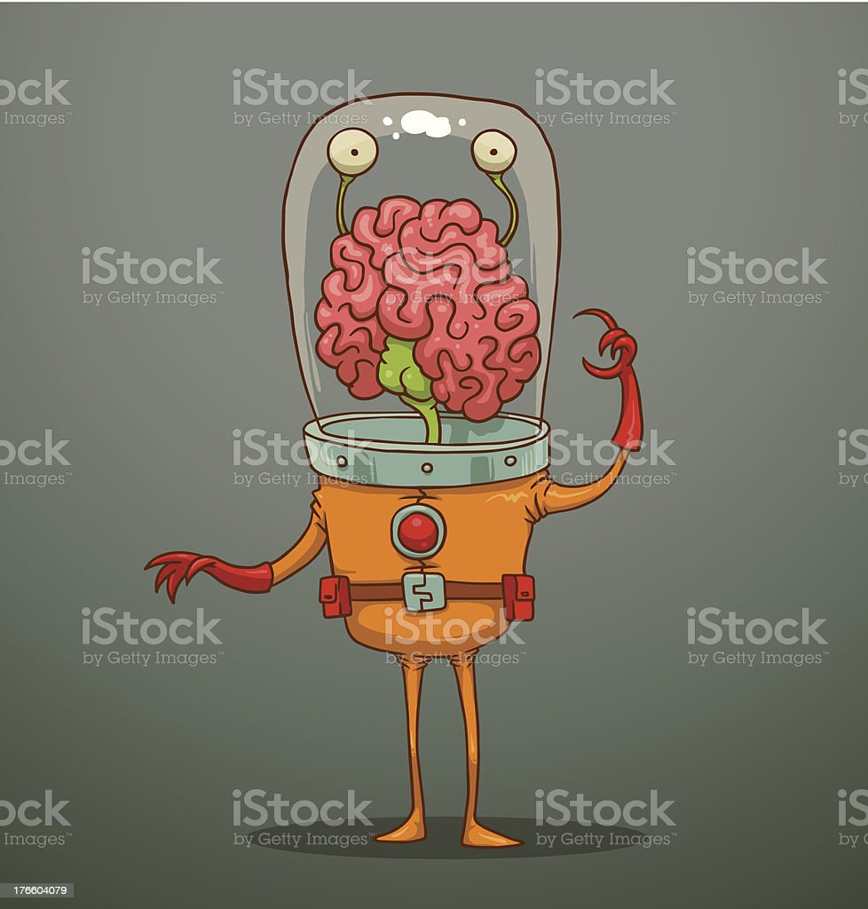 Funny alien with big brains royalty-free funny alien with big brains stock vector art & more images of alien