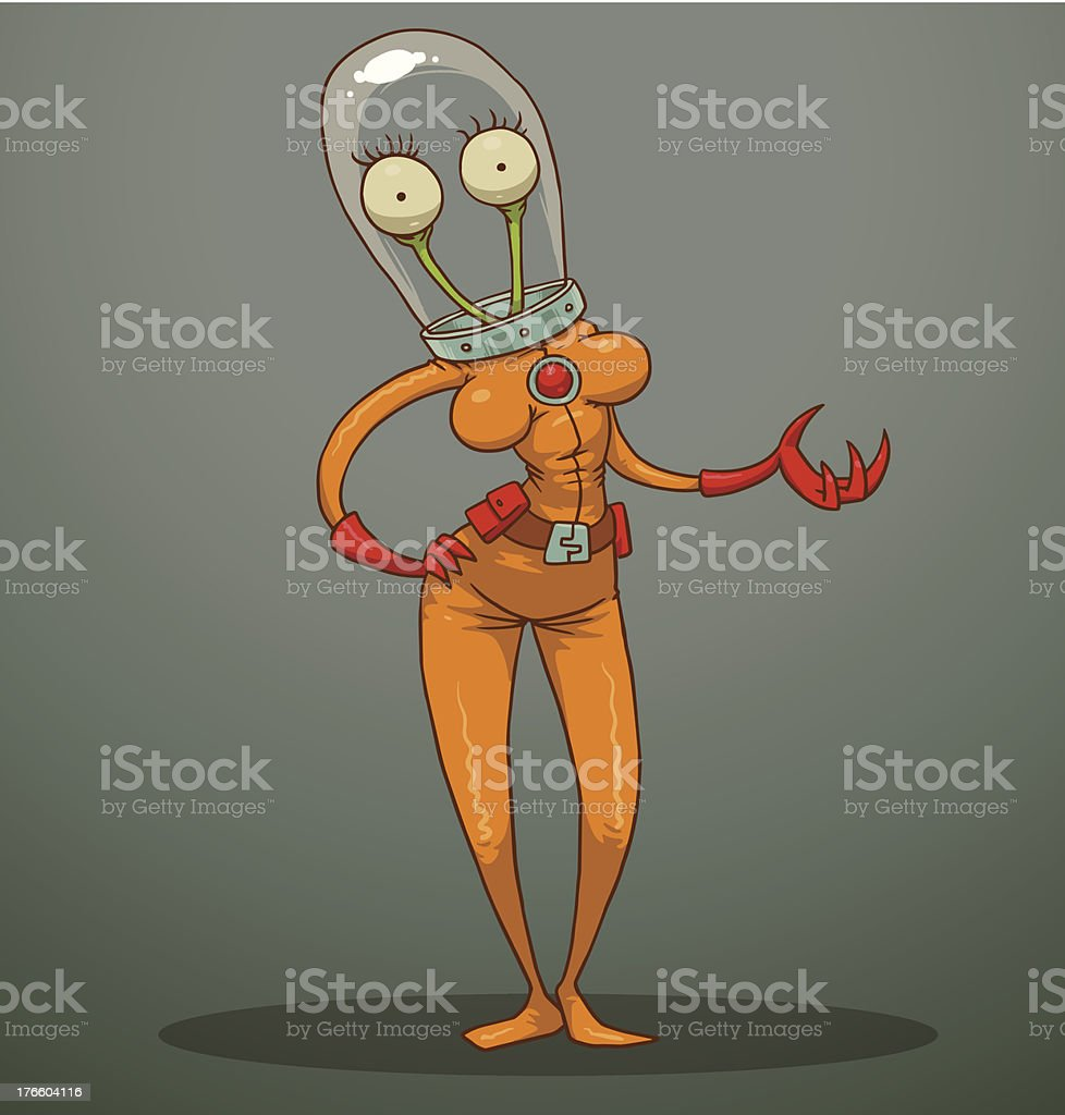 Funny alien with female breasts royalty-free stock vector art