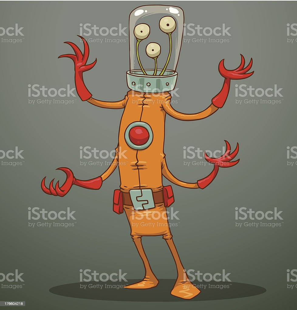 Funny alien with four arms royalty-free stock vector art