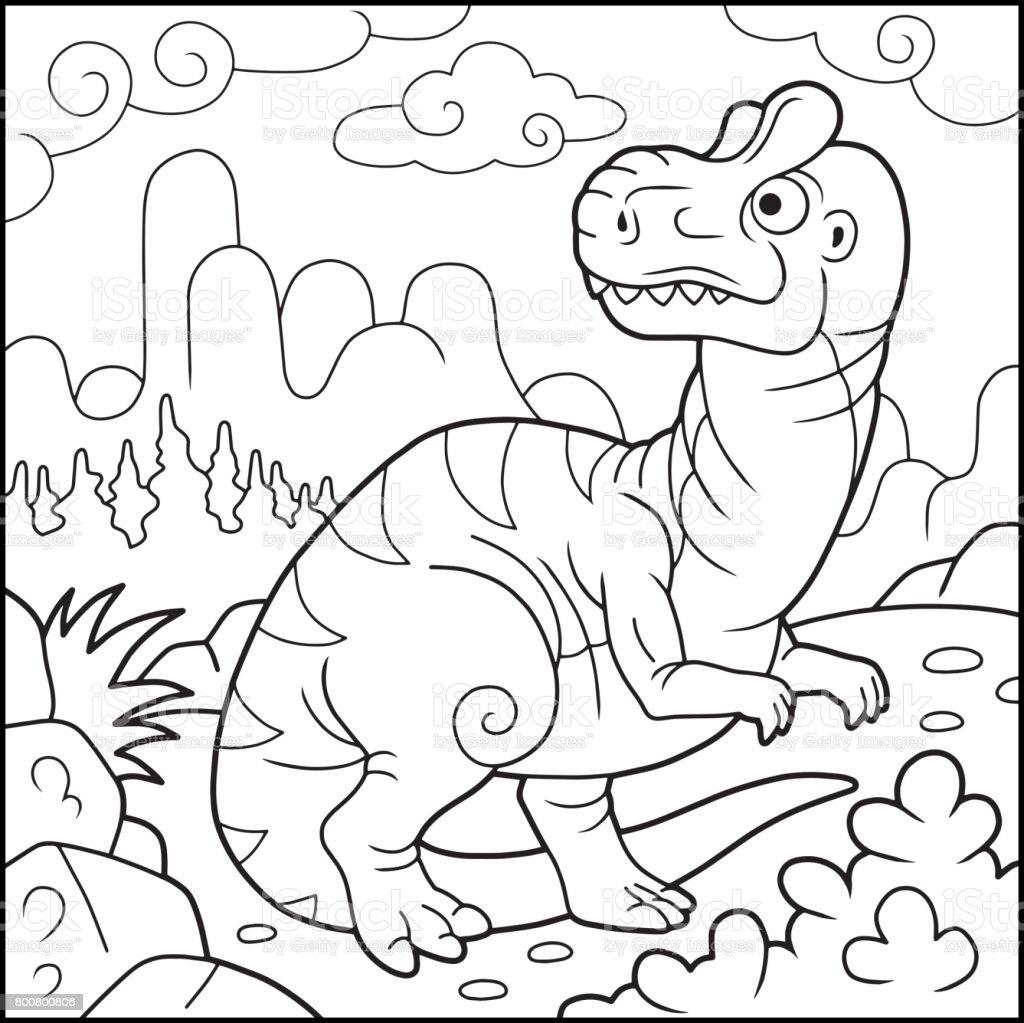 面白いアロサウルス塗り絵 ぬりえブックのベクターアート素材や画像を
