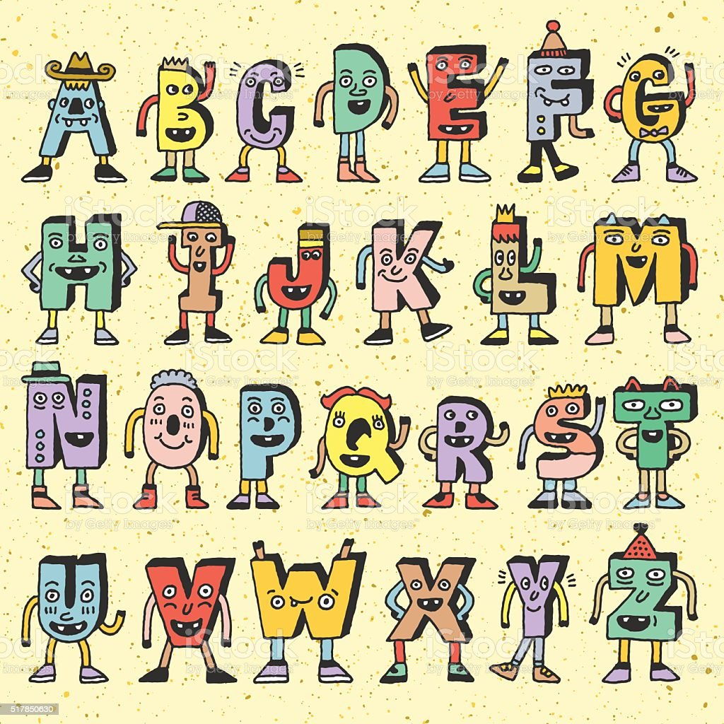 Abc funny alphabet characters wacky doodle letters design color set wacky doodle letters design color set royalty free abc thecheapjerseys Gallery