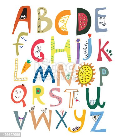 istock Funny alphabet for kids with faces, vegetables, flowers and animals 493652996