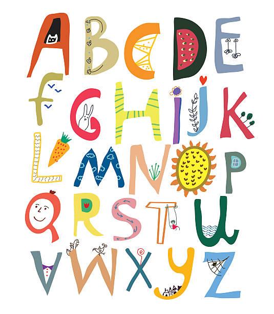 Lustige alphabet für Kinder mit Gesichter, Gemüse, Blumen und Tiere – Vektorgrafik