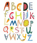 Funny alphabet for kids with faces, vegetables, flowers and animals
