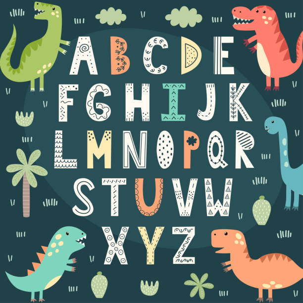Funny alphabet with cute dinosaurs. Educational poster for children Funny alphabet with cute dinosaurs. Educational poster for children. Vector illustration alphabet clipart stock illustrations