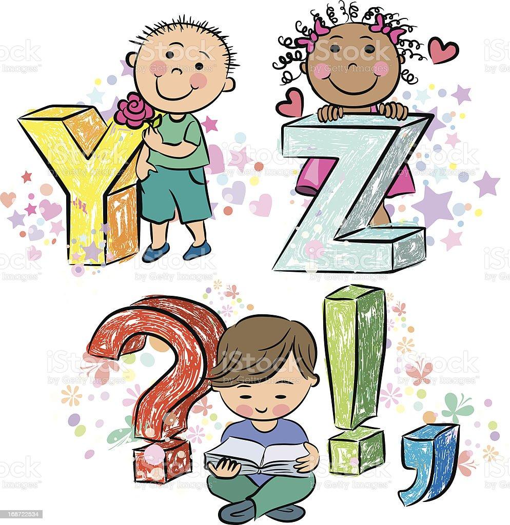 Funny alphabet with kids YZ royalty-free funny alphabet with kids yz stock vector art & more images of alphabet