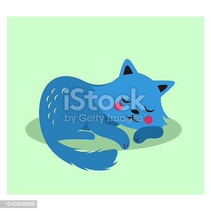 picture of cute blue little kitten sleeping