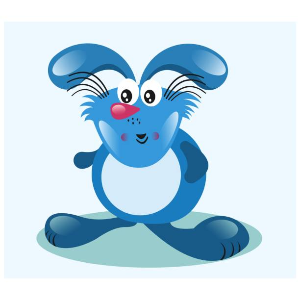 funny and adorable chubby blue rabbit, cartoon character vector art  illustration
