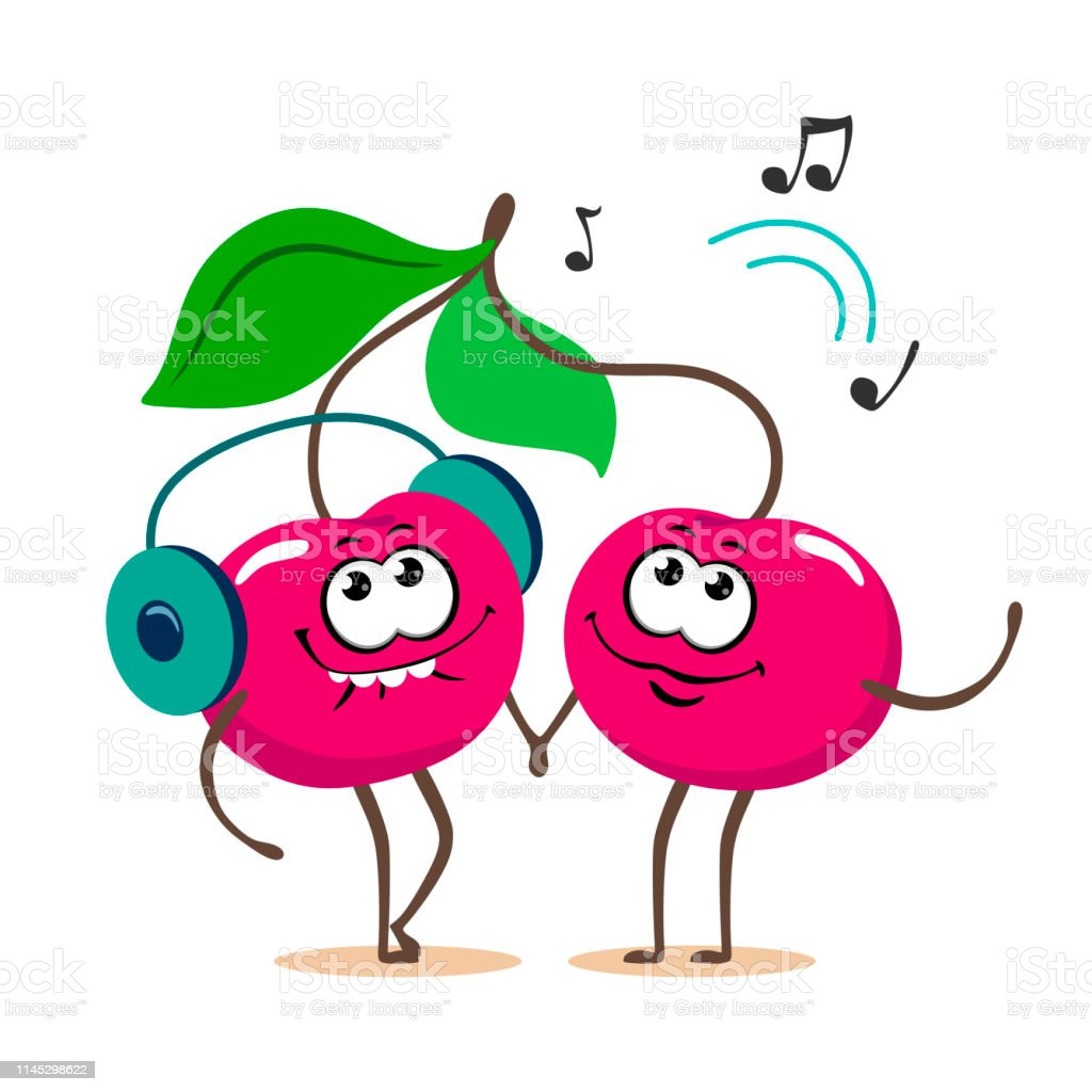 Funny And Cartoon Couple Of Sweet Cherries Listening To Music On
