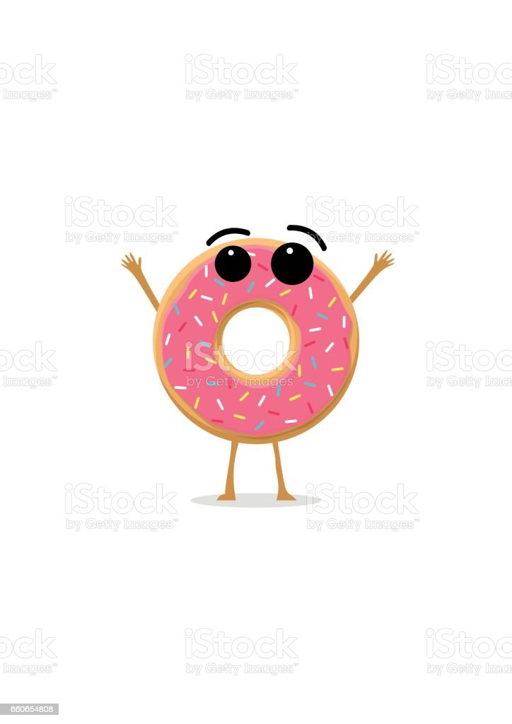 Funny and cute Donut with pink glazing and sprinkles character isolated on white background. Donut with smiling human face. Kids restaurant menu