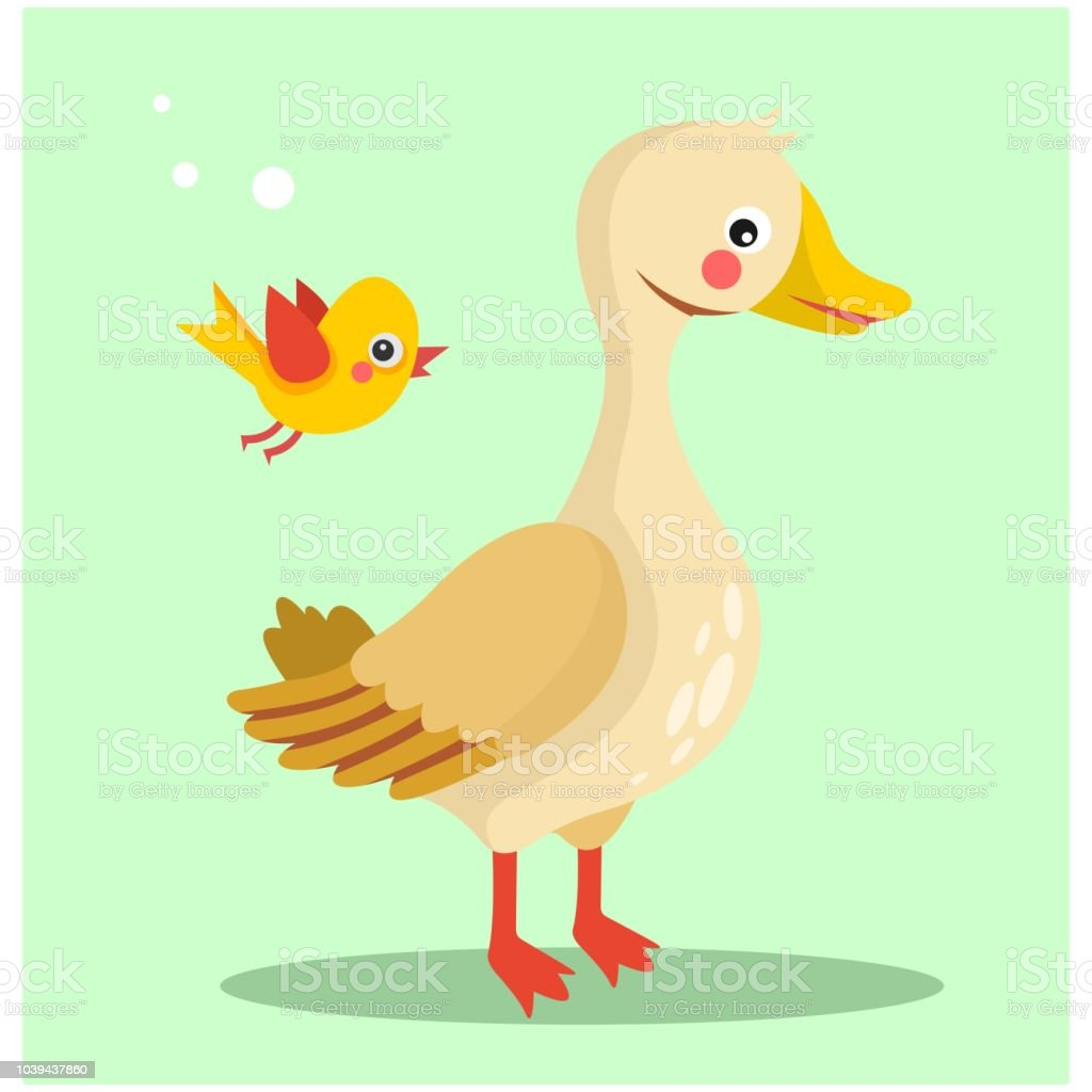 Funny And Cute Little Duck With Flying Little Bird Cartoon Character ...