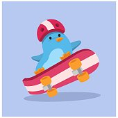 funny and cute little skater penguin on extreme sport, cartoon character