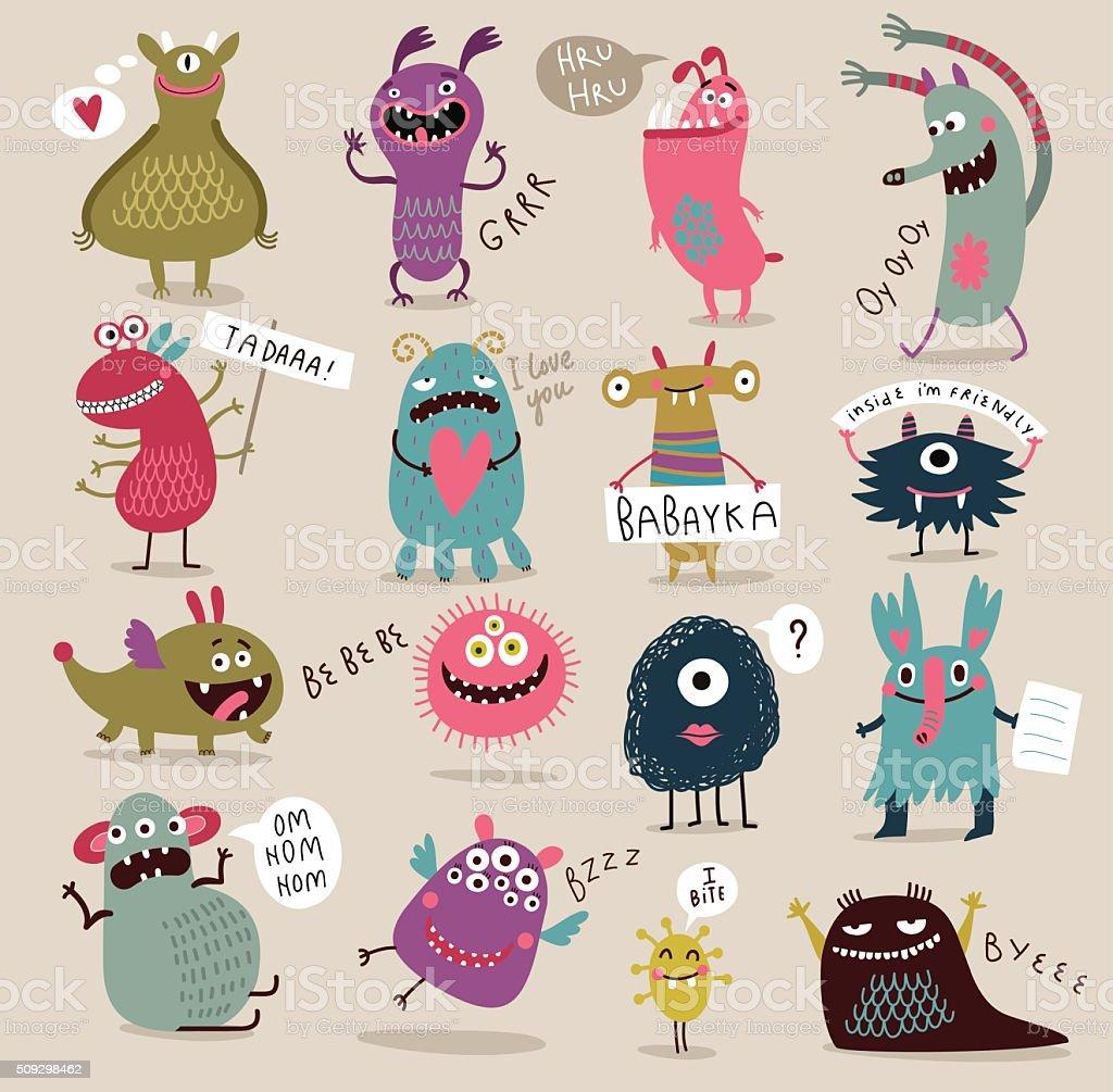 面白いとかわいい怪獣 イラストレーションのベクターアート