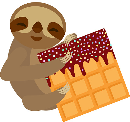 funny and cute smiling Three-toed sloth with Belgian waffle with chocolate and sprinkle on white background. Vector