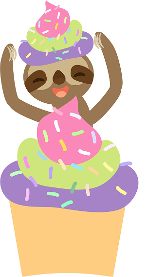 funny and cute smiling Three-toed sloth with cupcake with pink green lilac cream and sprinkles on white background. Vector