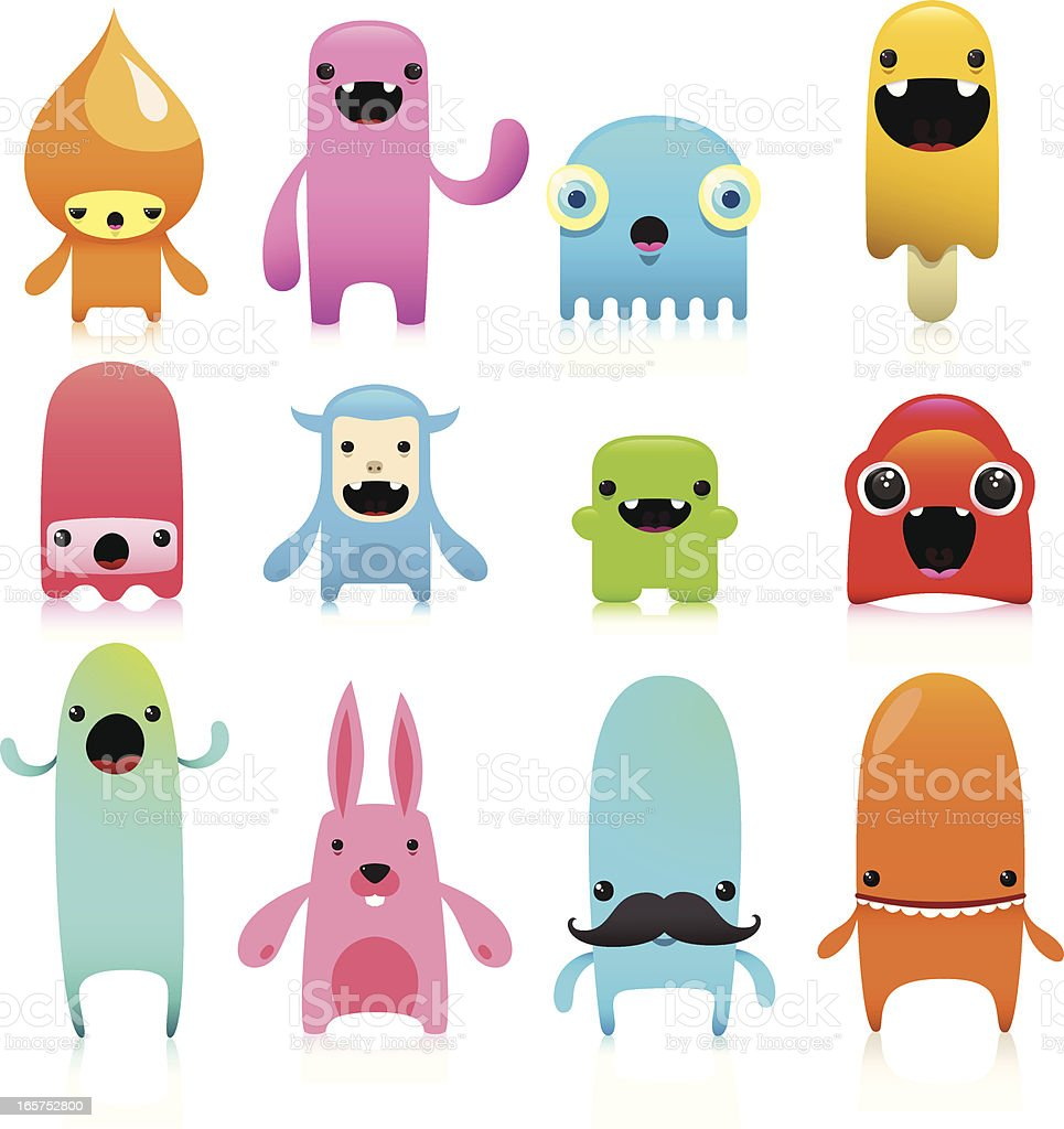 Funny And Cute Vector Character Set royalty-free stock vector art