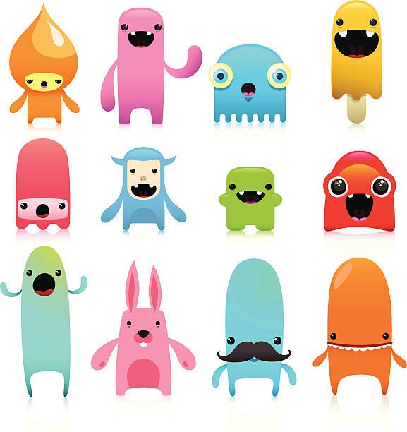 ilustraciones, imágenes clip art, dibujos animados e iconos de stock de funny y linda vector juego de caracteres - monstruo