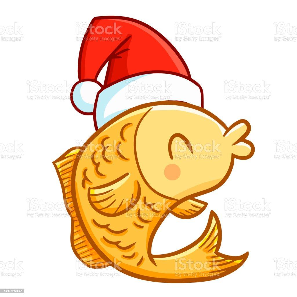 Lustige Und Nette Gelbe Fisch Zu Weihnachten Santas Hut Trägt Stock ...