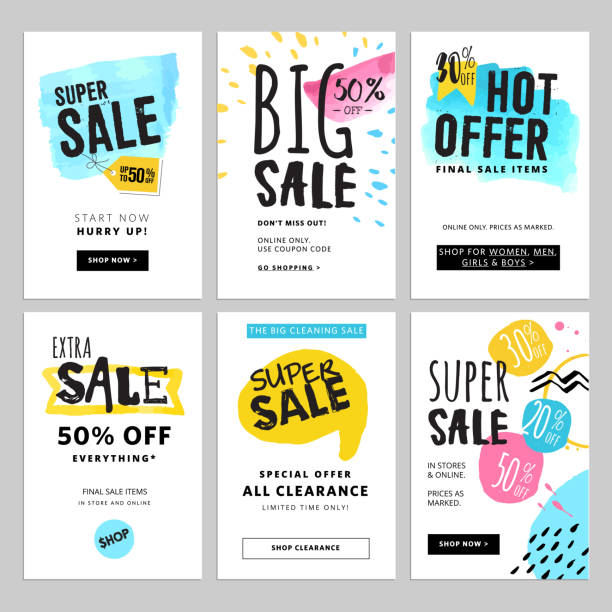 Funny and eye catching sale banners collection - Illustration vectorielle