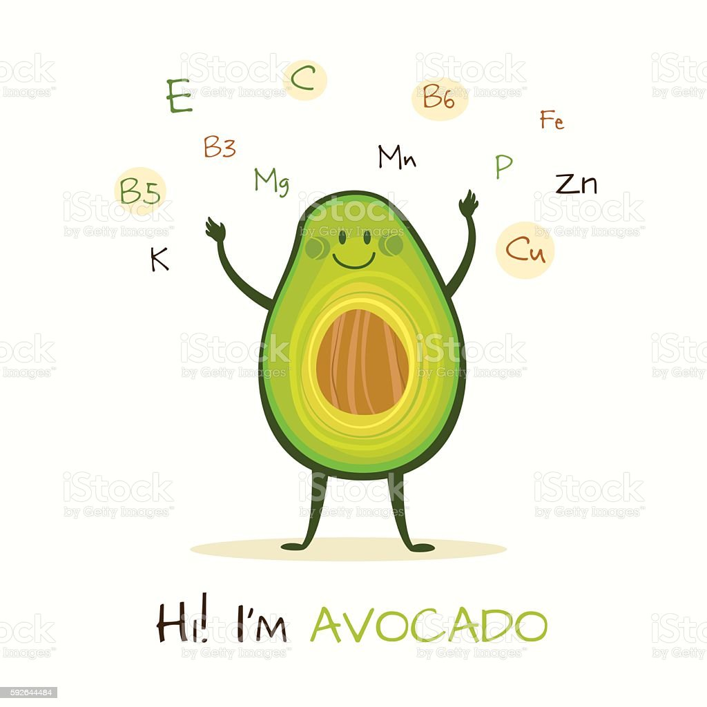 Funny and healthy food vector art illustration