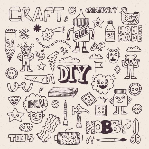 Funny and Wacky Doodle Creativity Diy Arts and Hobby. Vector Hand Drawn Illustration. Funny and Wacky Doodle Creativity Diy Arts and Hobby. Vector Hand Drawn Illustration. diy stock illustrations