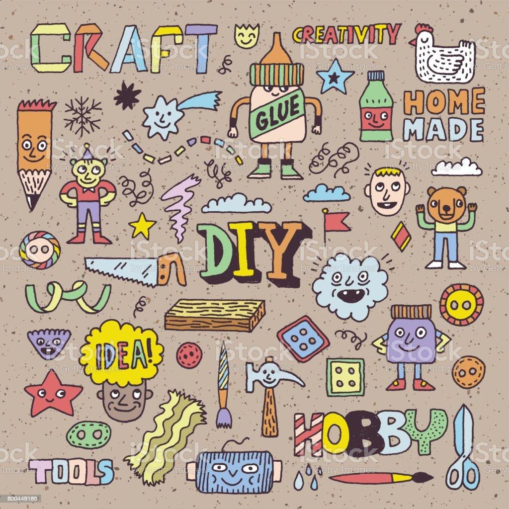 funny and wacky doodle creativity diy arts and hobby vector hand