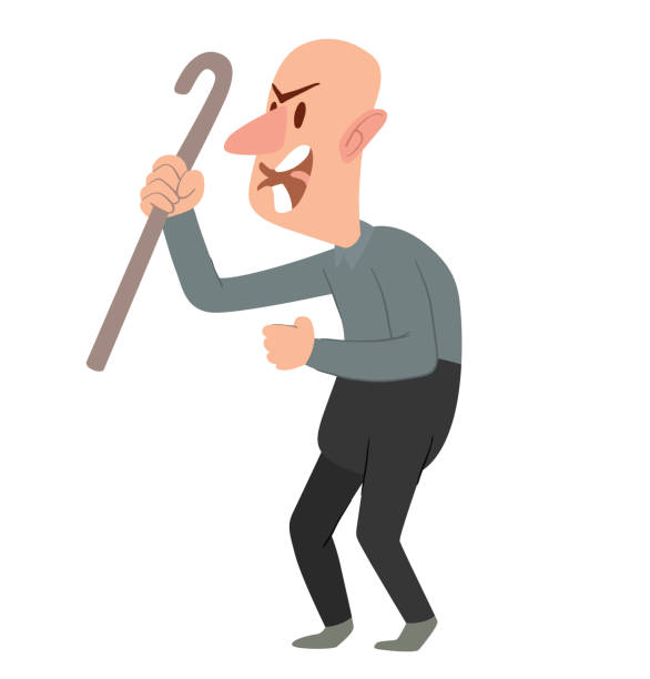 funny angry bald old man with a cane - old man crying clip art stock illustrations, clip art, cartoons, & icons