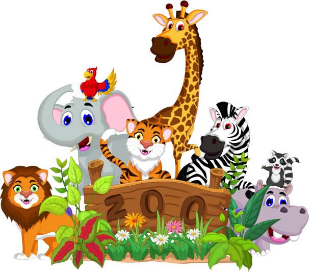 lustiger tiercartoon kollektion mit zoo - giraffenhumor stock-grafiken, -clipart, -cartoons und -symbole