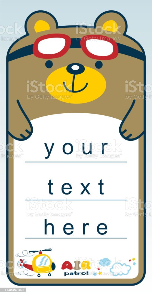 funny animal cartoon vector character on paper or board template,...