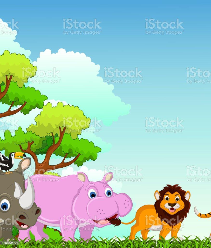Cartoni animati divertenti animali con sfondo foresta tropicale