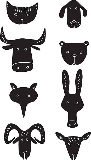 lustige animal heads - lustige kuh bilder stock-grafiken, -clipart, -cartoons und -symbole