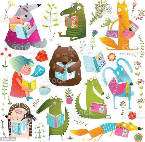 Funny animal kids studying reading books collection vector id849331160?b=1&k=6&m=849331160&s=612x612&h=ykeqc7fnmcfqhyrspzzxu61ttjemjhe4qu 5lt2uzmg=