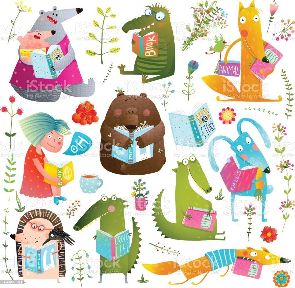 Lustige Tier Kinder studieren, lesen Bücher-Sammlung – Vektorgrafik