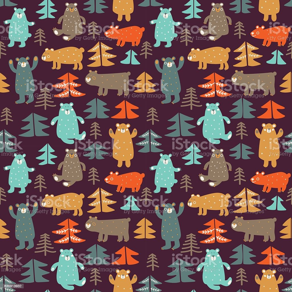 Funny animal seamless pattern made of bears in forest vector art illustration