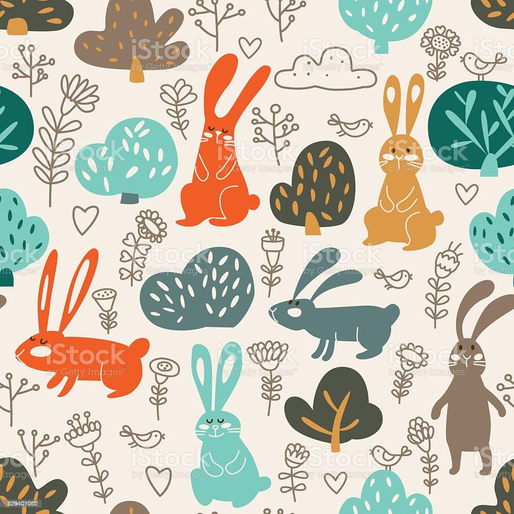 Animale divertente motivo senza interruzioni fatto di dolci conigli nella foresta - illustrazione arte vettoriale