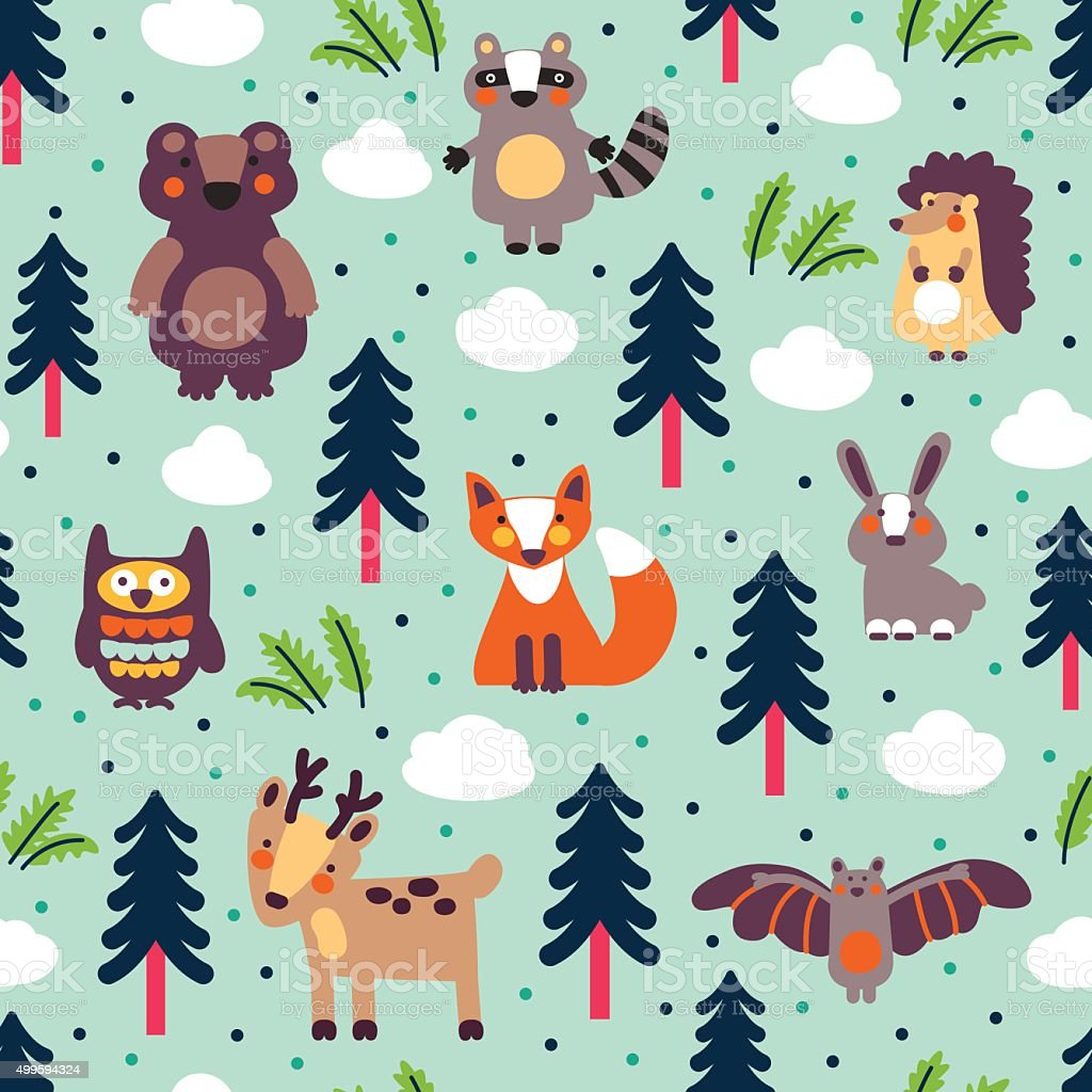 Funny animal seamless pattern made of wild animals in forest vector art illustration