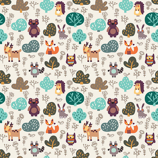Funny animal seamless pattern made of wild animals in forest Funny animal seamless pattern with floral background made of wild animals in forest: bear, deer, hedgehog, raccoon, fox, rabbit and owl. Ideal for cards, wallpapers and children room decoration animal markings stock illustrations